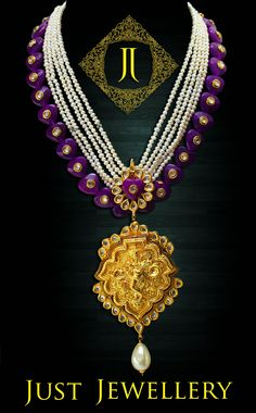 Temple Necklace with a touch of pearls..  Price - 10500/-  Place your order by sending us an email to justjewellery08@gmail.com