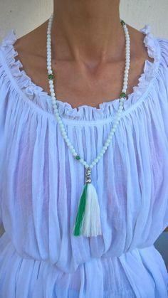 108 Mala Prayer Beads Necklace - White Onyx and Green Aventurine  ♥ Beads are 6mm ♥ Buddha charm ♥ Long tassel ONYX: ******* Onyx jewelry is worn to