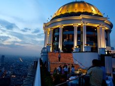 If you want to live the high life, go to the open-air Sirocco Restaurant, located at the State Tower in Bangkok. Photograph by Heimo Aga