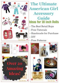 The Ultimate American Girl Accessory Guide with over 20 links to the best retail buys, free tutorials, handmade products for purchase and DIY American Girl Outfits, My American Girl Doll, American Girl Crafts, American Doll Clothes, Ag Doll Clothes, Ag Dolls, Girl Dolls, American Girl Accessories, Doll Accessories