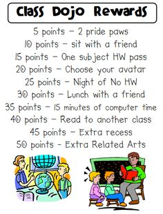 Technology Tailgate: Class Dojo Rewards sheet This could be changed up to work with my students