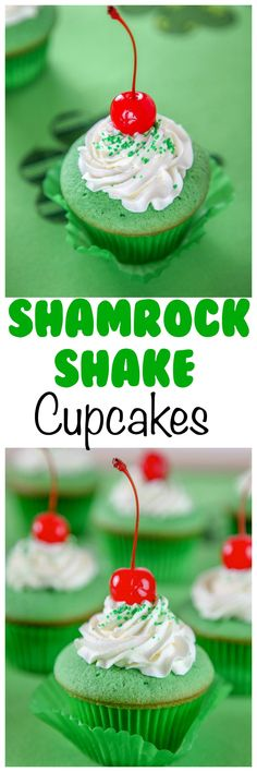 Shamrock Shake Cupcakes Recipe: Moist mint cupcakes topped with white chocolate whipped cream. Your favorite Mcdonald's Shake in cupcake form!