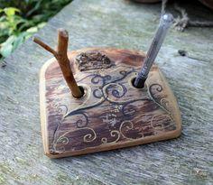 Large natural wood  pen holder. $40.00, via Etsy.