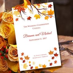 Printable Wedding Ceremony Program Template Falling Leaves DIY Fall Or Autumn Order Of Service Worddoc Instant Download You Print