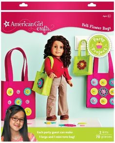 American Girl Crafts Tote Party Activity Kit by EKSuccessBrands. $23.29. Each box includes 2 party project kits. Just stack the felt pieces and beads, string the pieces together and lace them through the bag's pre-punched holes. Recommended for ages 8 and above. You will need scissors and an adult to help. For easy organization and a personal touch, sticker each girl's supplies with one of the cute name labels included For easy organization and a personal touc...