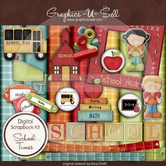 School Times 1 - Digi Scrap / Card Making Kit