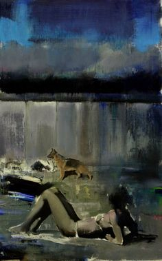 Adrian Ghenie-Blue Rain Study-2009-oil on canvas-32x20
