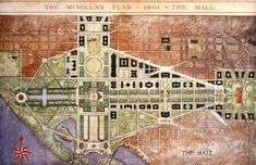 """The National Mall was the centerpiece of the 1901 McMillan Plan. A central pathway traversed the length of the Mall.  McMillan Plan of 1901 for Washington Source: National Capital Planning Commission, Washington, DC. """"The McMillan Plan of 1901."""""""