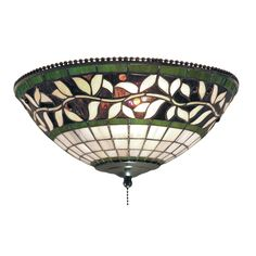 English ivy stained glass flush mount or ceiling fan light kit