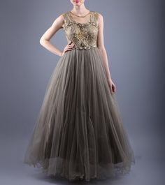 Golden & Grey Net & Satin Dress With Embellishments & Lace Work  http://www.shadesandyou.com/product/golden-grey-net-satin-dress-with-embellishments-lace-work/