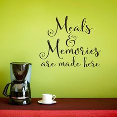 Meals & Memories Wall Decal  Kitchen Quote by StephenEdwardGraphic