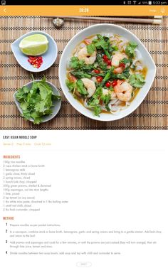 Asian noodle soup Healthy Diet Recipes, Healthy Eating, Cooking Recipes, Healthy Mummy, Detox Recipes, 28 By Sam Wood, Asian Noodles, Asian Soup, Detox Soup