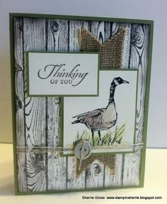 handmade card fromStampin Sunshine: Wetlands on the Hardwood ...luv how the woodgrain looks like weather beach boards ... burlap ribbon ... Canadian Goose ... luv it! ... Stampin' Up! by bethany