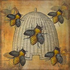 Phantasmagorical Farmyard Gallery | Telling The Bees - by Grimalkin Studio / Kandy Hurley  #BeeHappy #GiftIdeas #FunArt @grimalkinart