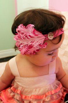 baby headband Feather headband Baby girl by snazziebabyboutique, $15.00