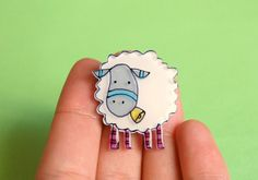 White Sheep Brooch or Necklace by lacravatteduchien on Etsy, €12.00