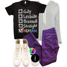 Stiles Inspired Pride Parade Outfit with Cream Converes by veterization on Polyvore featuring moda and Hudson Jeans