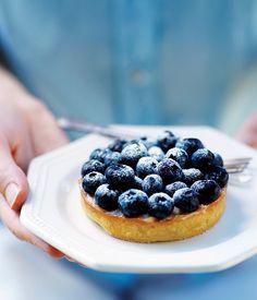 A Gourmet Traveller recipe for blueberry vanilla tart by Serge Dansereau of Sydney's Bathers' Pavilion.