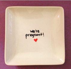 Surprise We're Pregnant. Pregnancy Announcement Reveal Plate