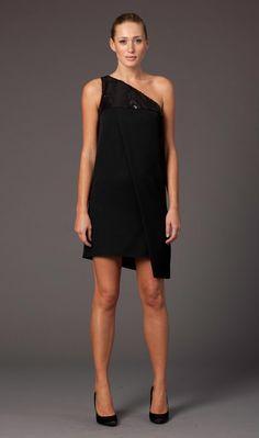 One shoulder cocktail dress: Angel Sanchez.