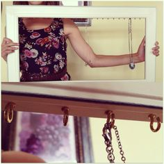 Cute homemade necklace holder! Cute put a decorative back on and something to hook earrings.