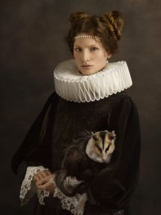 Photographer : Sacha Goldberger - portrait with animals - Flemish painting