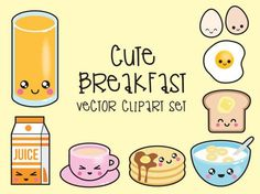 Premium Vector Clipart - Kawaii Breakfast Clipart - Kawaii Food Clip art Set - High Quality Vectors - Instant Download - Kawaii Clipart
