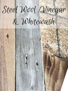 DIY Wood Pallet Wall - How to make new wood look weathered, distressed with diff.DIY Wood Pallet Wall - How to make new wood look weathered, distressed with different techniques. Whitewash, steel wool f# diff Wooden Pallet Wall, Wooden Pallets, Wooden Diy, Pallet Wood Walls, Pallet Floors, Pallet Boards, Pallet Tv, Recycled Pallets, Recycled Wood