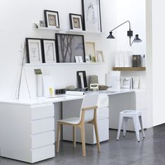 Home Office Design Ideas From The New Work Project Home Office Space, Office Workspace, Home Office Design, Home Office Decor, Office Ideas, Small Office, Shared Office, White Office, Workspace Inspiration