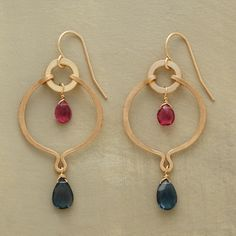 """UNISON EARRINGS--Pink tourmaline and London blue topaz, shiny and matte 14kt goldfill come together in Thoi Vo's handcrafted danglers. French wires. Made in USA. 1-3/4""""L."""