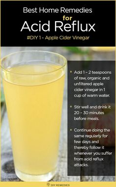 Apple Cider Vinegar Remedies for Acid Reflux In certain times, acid reflux is caused due to lack of enough acid in the stomach rather than having too much acid. #ACV #AcidReflux #DIYRemedies