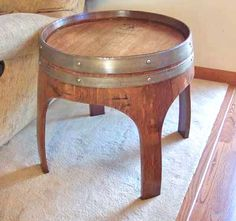 "22"" Wine Barrel Table With Arch Legs and Metal Bands, Side Table/Plant Stand"