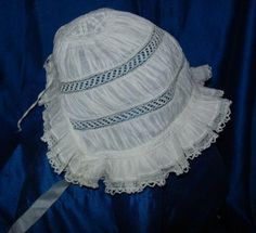 ANTIQUE BABY BONNETS - WHITNEY SAUCERBOAT LLC Baby Needs List, What Baby Needs, Baby Girl Hats, Girl With Hat, Baptisms, Baby Necessities, Baby Bonnets, Christening Gowns, Heirloom Sewing