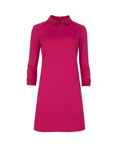 Embellished collar dress - Deep Pink | Dresses | Ted Baker