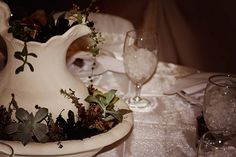 One of our wonderful customer's white and ivory table decorations