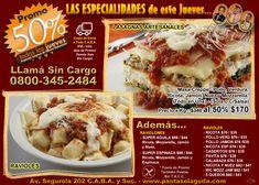 #Promoción 50% de #Descuento este Jue 2-Nov-2017 #Lasagnas #Ravioles y #Raviolones !!! Envíos a toda C.A.B.A.