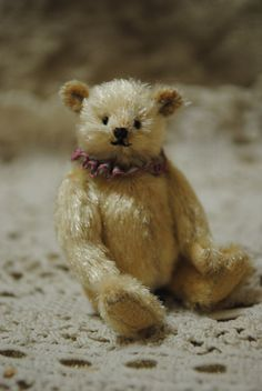 "Junko Fujinami, Jun Jun Little Bear - 2"" tall teddy bear made of fur with ultrasuede paws"