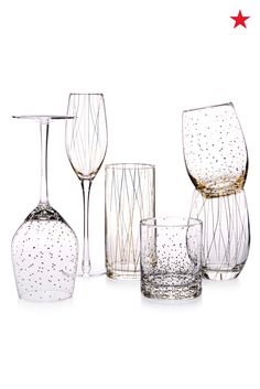 Use your registry to build a home bar with glassware of all shapes and sizes. Mikasa's fun collection of patterned pieces includes a glass for everyone's favorite drink.
