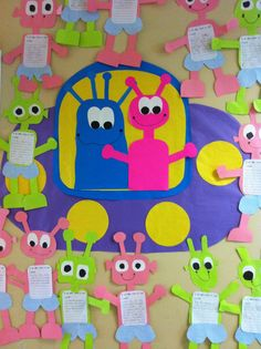 """Read the book, Aliens love underpants, made aliens and finished the writing prompt, """"If an alien came to visit . . ."""""""