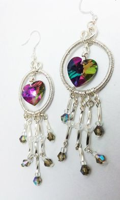 and the last of my work today .    Aurora Borealis Heart Earrings wire wrapped by jmagnoliadesign, $17.50