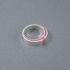 Zilver hars ring modern roze hars hoogglans sterling door MissSilver, €47,00