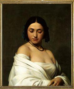 Hippolyte Flandrin | Etude florentine ou jeune fille en buste les yeux baissés | Images d'Art