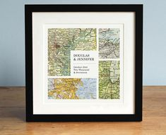 Modern Grid Personalized Map Art 3 Custom Map Mountain Print