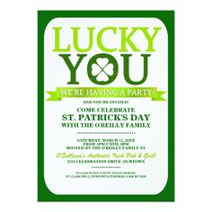 St. Patrick's Day Party Invitations Lucky St. Patricks Day Party Invitations