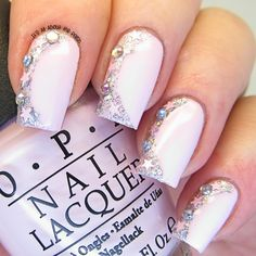 Pink Bling ~ base polish OPI 'Mod About You' and Grace-full Nail Polish 'Silver' for the crescent glitter with added little pink stars and diamentes. ~ by It's all about the polish
