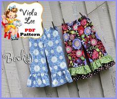 Ruffled Pants Pattern, 1 or 2 Ruffles, Ruffled Capris Pattern. Girl's Sewing Pattern. INSTANT DOWNLOAD. Toddler Pattern, Girls Pattern