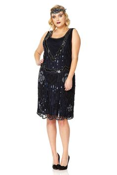 Audrey Black Navy Blue Vintage 20s inspired Flapper by Gatsbylady
