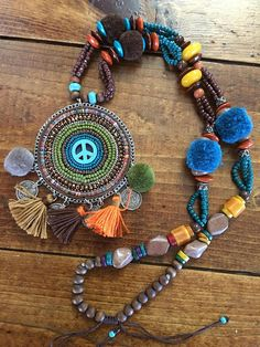 Boho tassel pompom coin wood beaded peace sign hippie ibiza medallion necklace statement colorful festival jewelry pendant turquoise beads