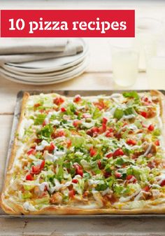 10 Pizza Recipes -- Pizzas a great for every occasion--from breakfast pizzas for the morning to chocolate pizzas for dessert. We also have appetizer pizzas, pizzas with chicken, and even cheeseburgers on top!