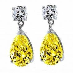 30b9bf3bd Bling Jewelry 925 Sterling Silver Citrine Color CZ Teardrop Dangle Earrings  Citrin Ohrringe, Baby Ohrringe